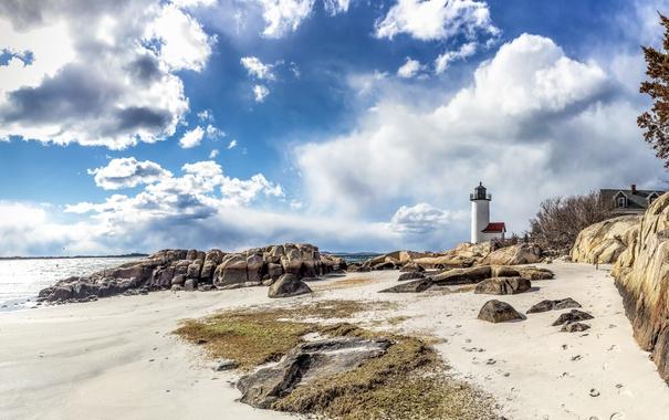 Фото обои песок, море, пляж, небо, солнце, облака, камни