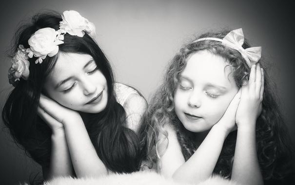Фото обои девочки, две, child, Angels