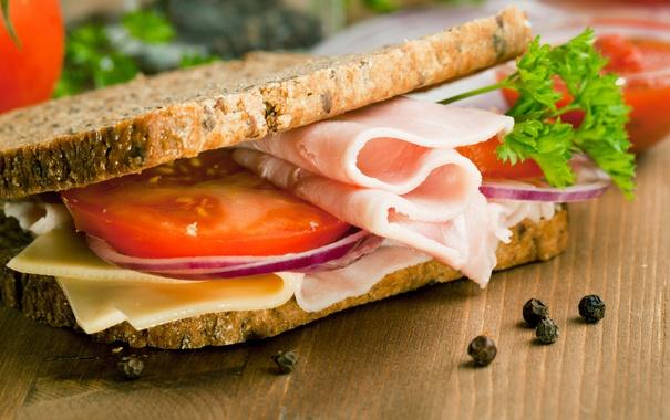 Фото обои зелень, сыр, хлеб, бутерброд, помидор, cheese, ветчина