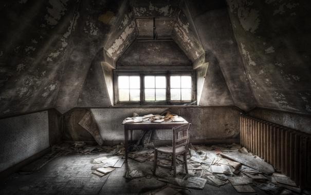 Фото обои стол, комната, стул, бумаги