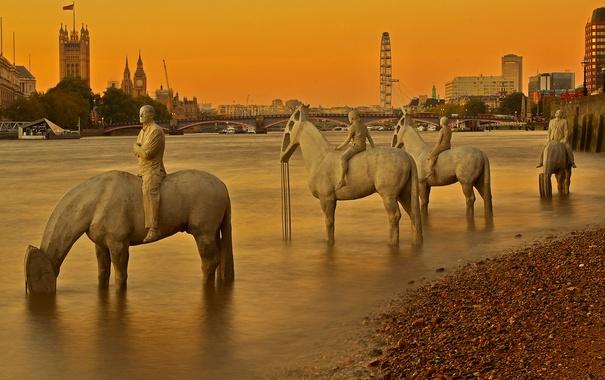 Фото обои мост, река, Англия, Лондон, башня, Темза, скульптура
