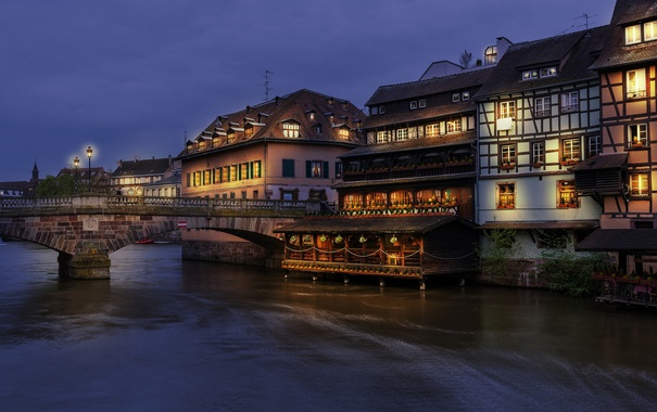 Фото обои ночь, city, город, lights, огни, река, Франция