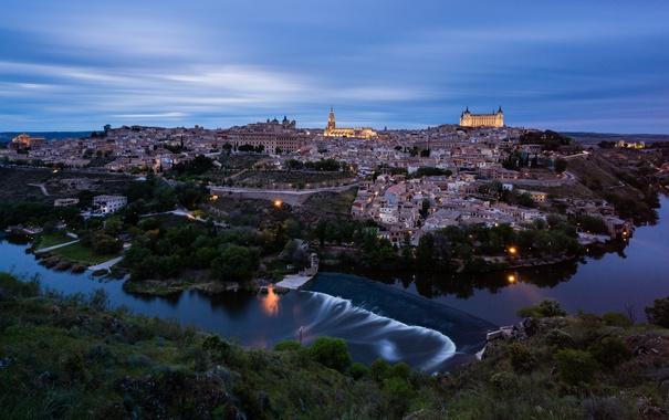 Фото обои небо, город, река, вечер, освещение, архитектура, синее