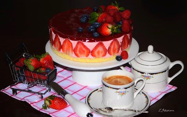 Фото обои ягоды, малина, кофе, клубника, торт, голубика