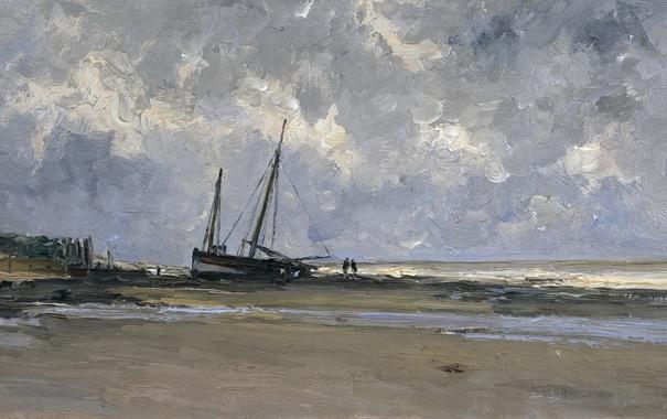 Фото обои берег, лодка, картина, морской пейзаж, Карлос де Хаэс, Море в Виллервиле