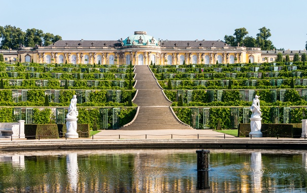 Фото обои зелень, дизайн, Германия, лестница, ступени, фонтан, кусты
