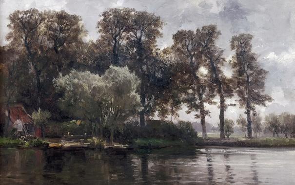 Фото обои вода, деревья, пейзаж, дом, картина, Карлос де Хаэс, Канал в Голландии
