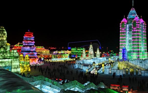 Фото обои ночь, огни, Китай, Харбин, фестиваль льда и снега