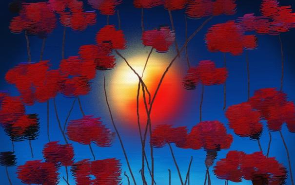 Фото обои солнце, цветы, абстракция, краски, картина, холст