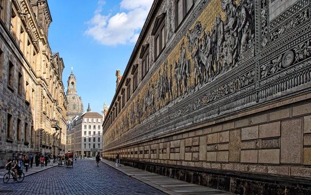 Фото обои улица, дома, Германия, Дрезден, церковь, панно