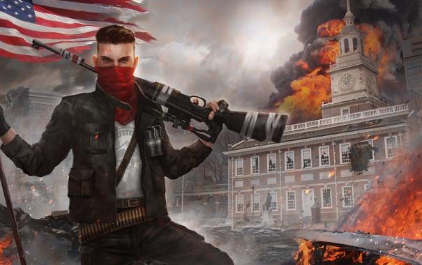 Фото обои город, огонь, флаг, арт, солдат, мужчина, винтовка