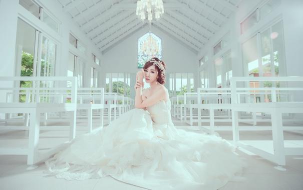 Фото обои взгляд, фон, печаль, платье, азиатка