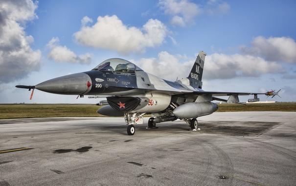 Фото обои истребитель, аэродром, Fighting Falcon, F-16C