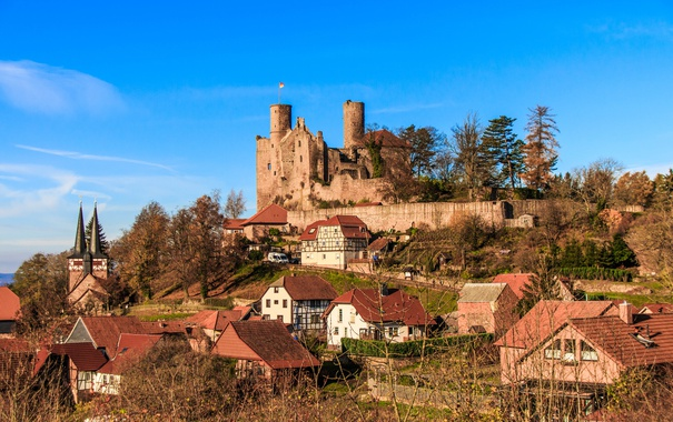 Фото обои небо, замок, гора, дома, Германия, холм