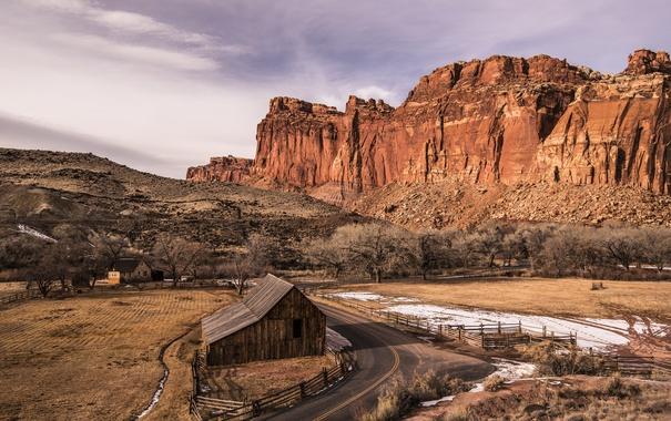 Фото обои дорога, горы, дом