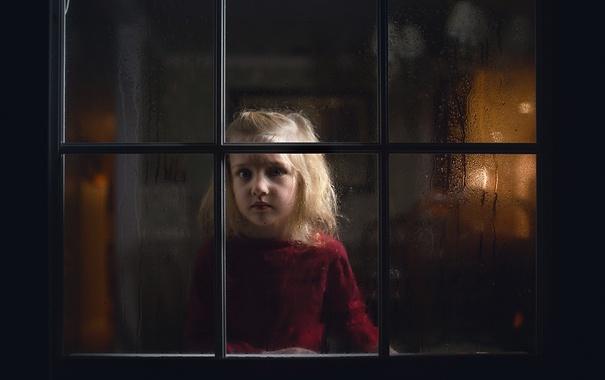 Фото обои настроение, окно, девочка