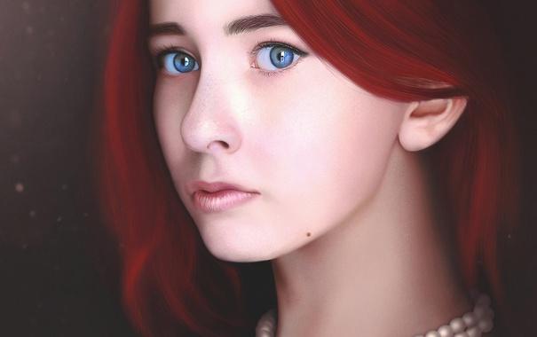 Фото обои взгляд, девушка, лицо, арт, бусы, красные волосы
