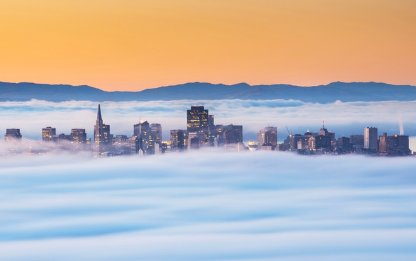 Фото обои горы, туман, небоскреб, дома, утро, Сан-Франциско, США
