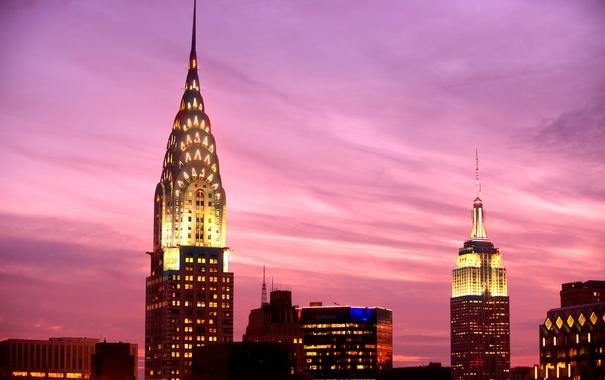 Фото обои небоскреб, Нью-Йорк, зарево, США