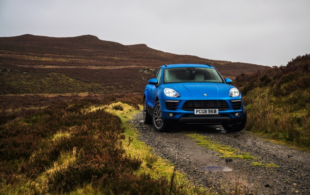 Фото обои синий, Porsche, порше, Macan S, макан