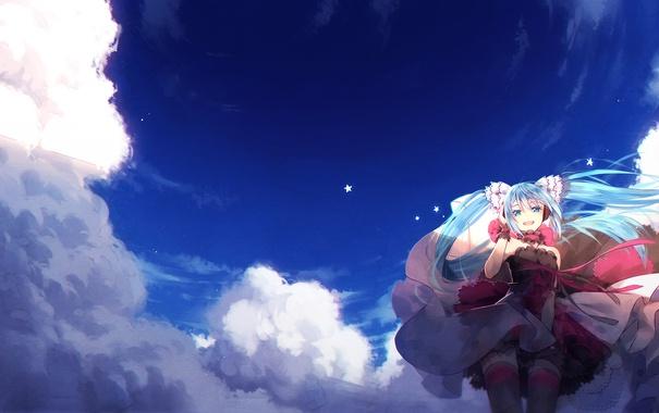 Фото обои небо, девушка, звезды, облака, улыбка, аниме, арт
