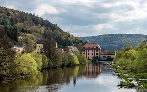Фото обои лес, деревья, горы, река, дома, Германия, Бавария