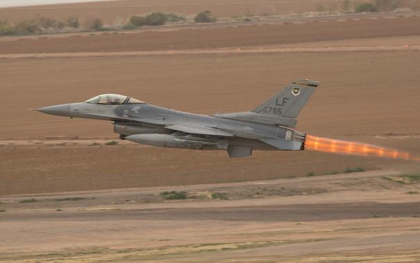 Фото обои истребитель, взлет, Fighting Falcon, F-16C, «Файтинг Фалкон»