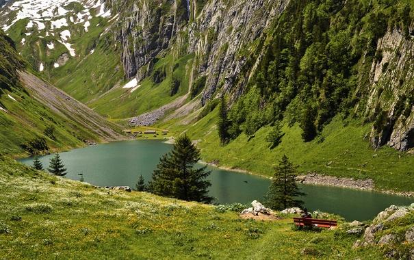 Фото обои деревья, горы, озеро, камни, скалы, вид, лавочка