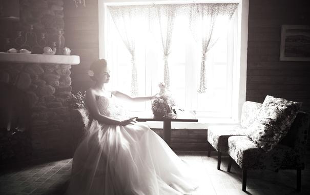 Фото обои девушка, букет, сидит, невеста