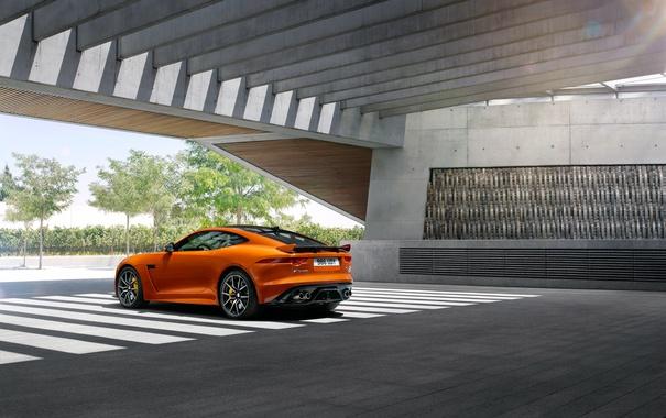 Фото обои оранжевый, купе, Jaguar, ягуар, Coupe, F-Type