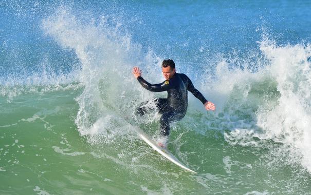Фото обои море, лето, брызги, волна, Сёрфинг