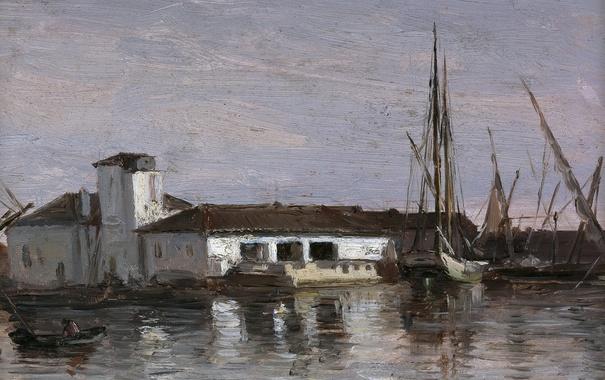Фото обои пейзаж, дом, лодка, корабль, картина, гавань, Карлос де Хаэс