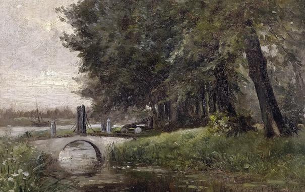 Фото обои деревья, мост, река, картина, Карлос де Хаэс, Пейзаж в Неймегене