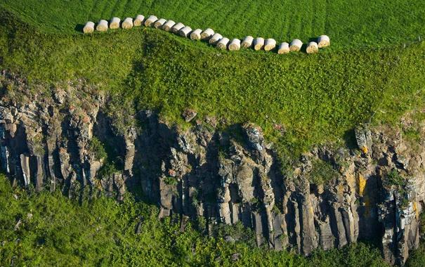 Фото обои скалы, Франция, солома, Овернь, Мюроль