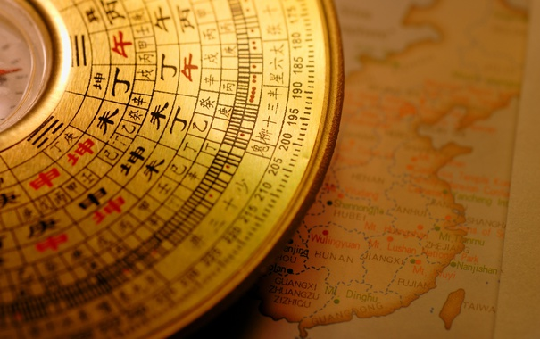 Фото обои metal, map, compass, Chinese