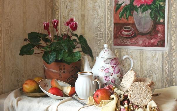 Фото обои яблоки, картина, посуда, натюрморт, цикламен, хлебцы