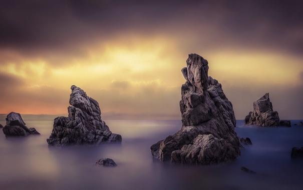 Фото обои море, небо, ночь, скалы