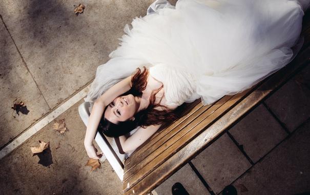 Фото обои девушка, улыбка, платье, невеста