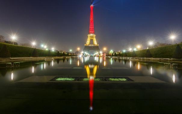 Фото обои ночь, огни, отражение, Франция, Париж, Эйфелева башня