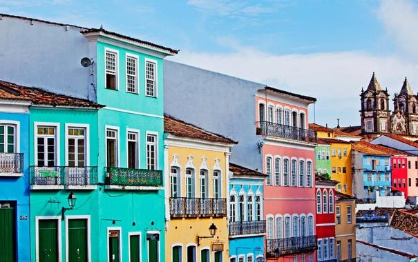 Фото обои небо, краски, дома, церковь, Бразилия, Салвадор, Баия