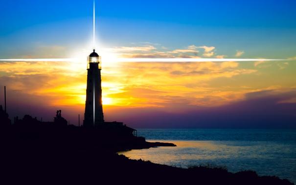Фото обои море, рассвет, побережье, маяк, горизонт, лучи света