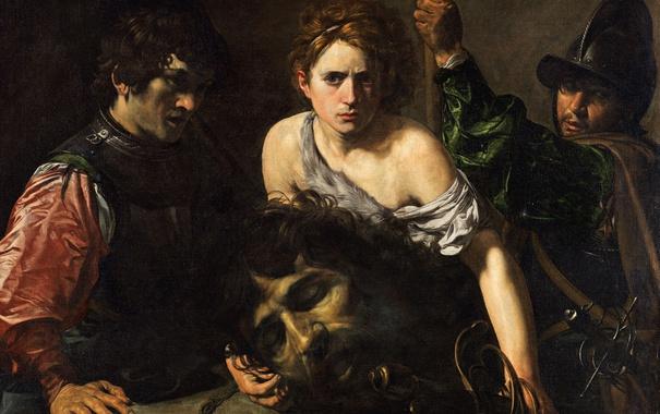 Фото обои картина, мифология, Валантен де Булонь, Давид с Головой Голиафа и Двое Солдат
