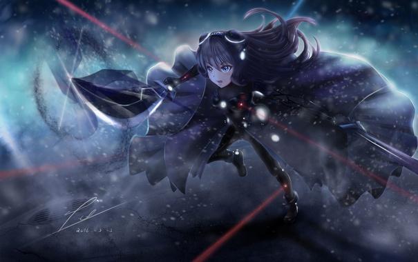 Фото обои девушка, снег, оружие, меч, аниме, арт, плащ