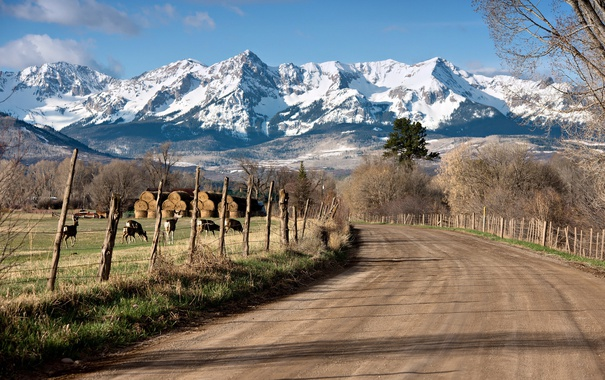Фото обои дорога, горы, забор
