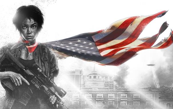 Фото обои девушка, флаг, арт, винтовка, революция, восстание, Homefront: The Revolution