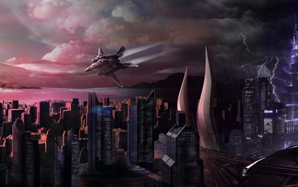 Фото обои небо, город, молния, корабль, Star Citizen