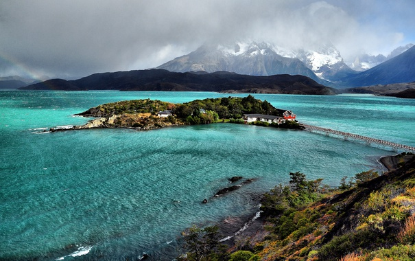 Фото обои горы, мост, озеро, домики, островок, Чили, Patagonia