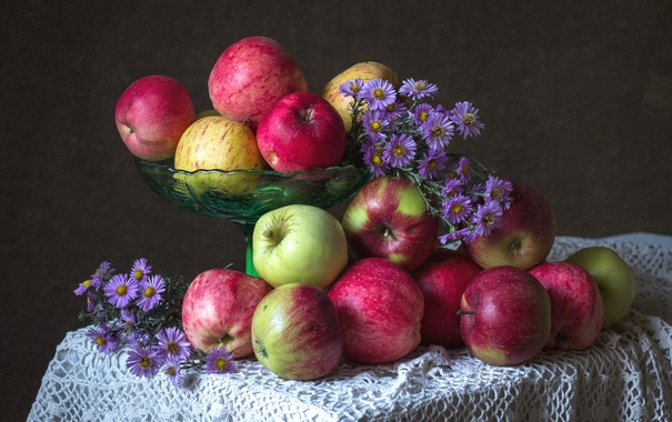 Фото обои осень, яблоки, плоды, татарская астра