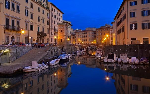 Фото обои ночь, огни, лодка, дома, Италия, гавань, Тоскана
