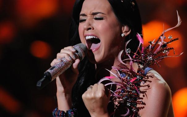 Фото обои музыка, актриса, Кэти Перри, микрофон, певица